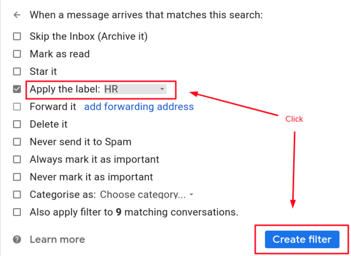 Apply the Gmail labels filters of the preferred HR label.