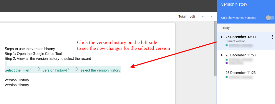 single user google docs changes