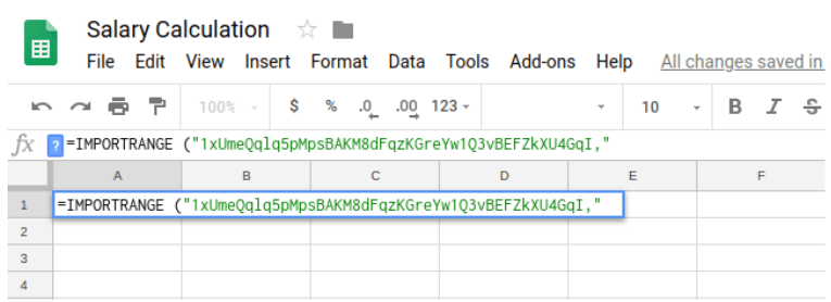 Paste the copied data from another Google Sheets into Google Sheets importrange formula.