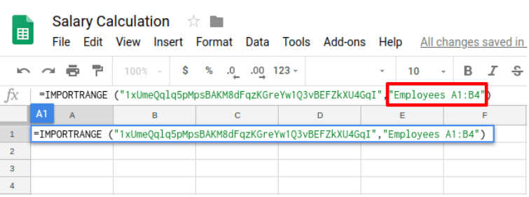 Select the specific data range wanted to be copied to another Google Sheets