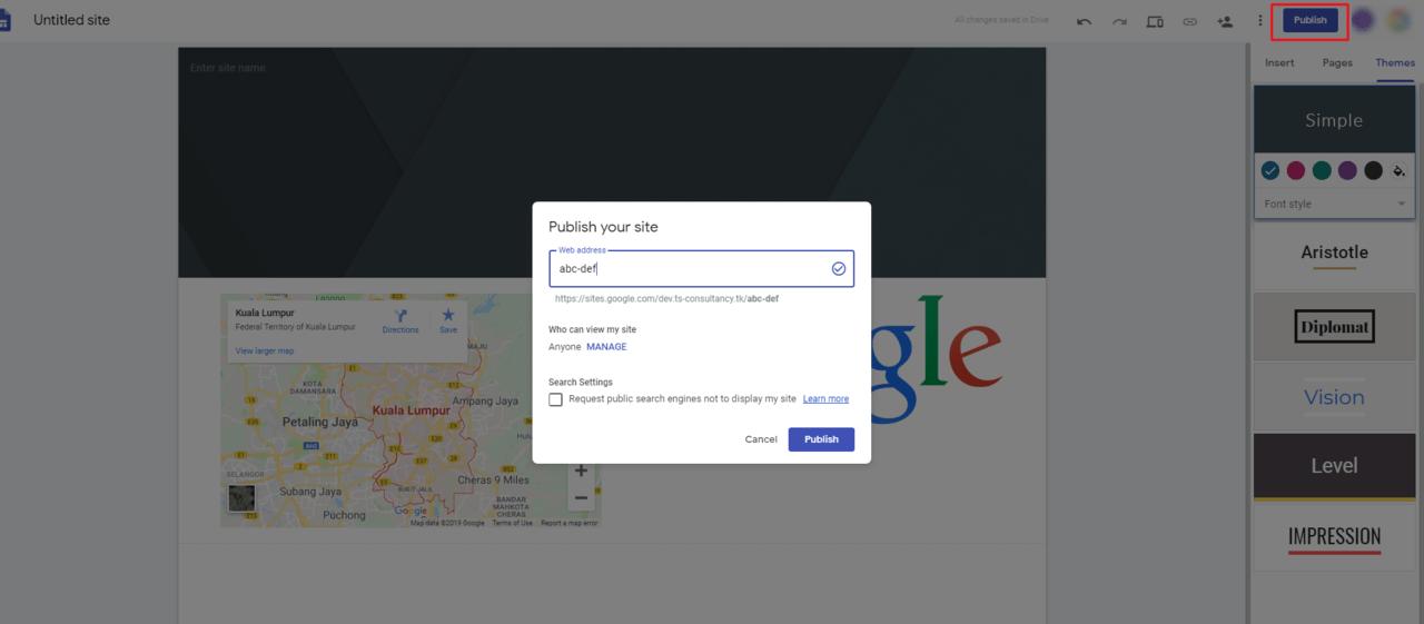 Publish the Google Sites Website.