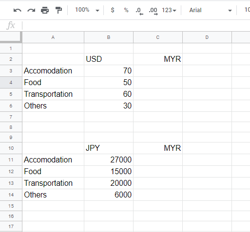 Make a table of different exchange rates.
