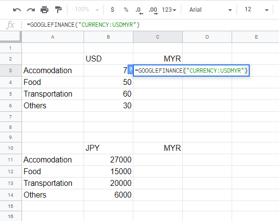 Select the Google finance formula to calculate the Exchange Rate in google sheets.