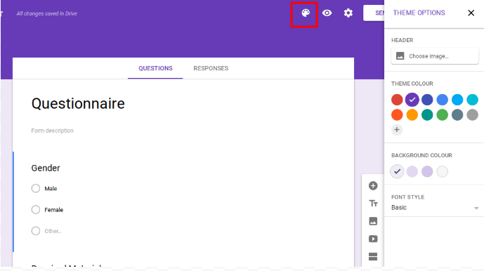 Options to design the Google Forms Questionnaire.