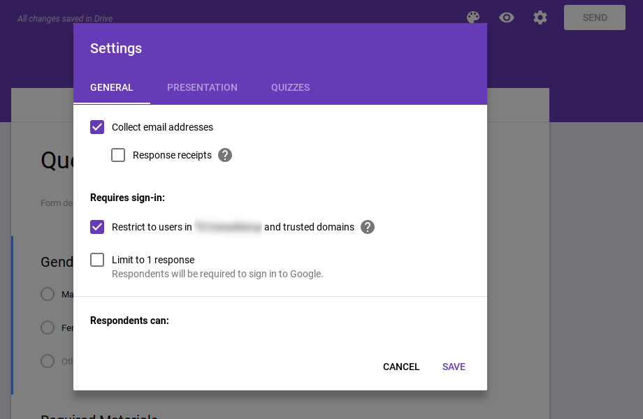 General Google Forms Questionnaire settings.