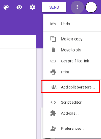 Add collaborators to the Google Forms Questionnaire.