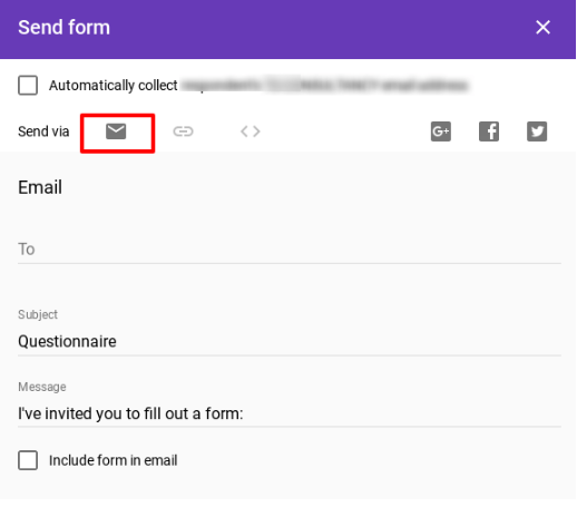 Send the Google Forms Questionnaire by Email.