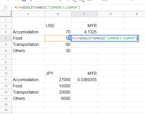 Select to apply automatic calculation of Google Sheets Exchange Rate.
