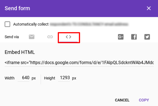 Put an embed HTML to the Google Forms Questionnaire.