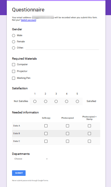Completed Google Forms Questionnaire.