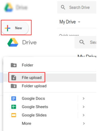 Upload the Chinese PDF file in Google cloud drive.