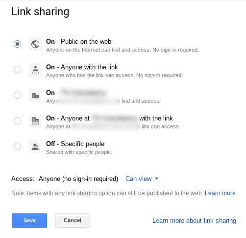 Select the preferred link sharing options.