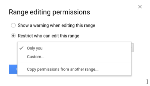 Range editing permissions for shared sheets.