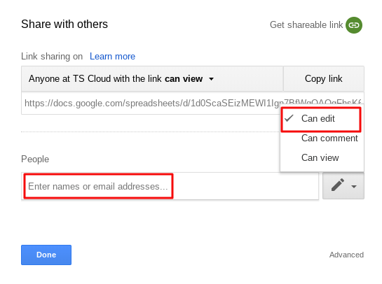Set the sharing permissions to protect Google Sheets cells.