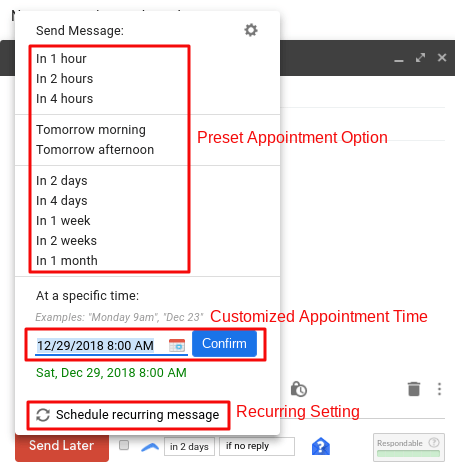 How to schedule Gmail message at specific date and time