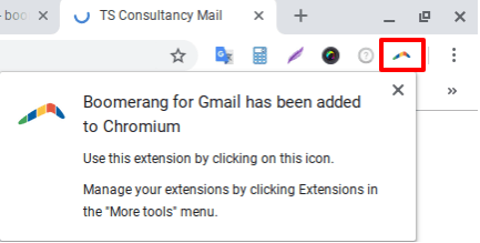 Icon showing boomerang for Gmail has been added to schedule Gmail