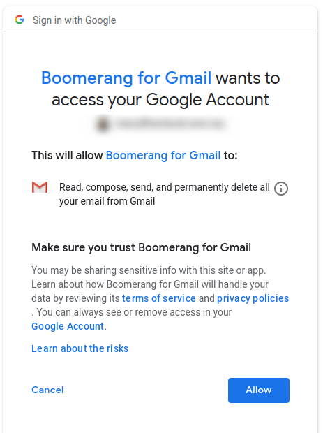 Boomerang for Gmail requesting access permission to schedule Gmail