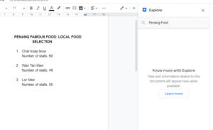 Explore function in Google Docs