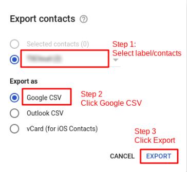 Export Google CSV