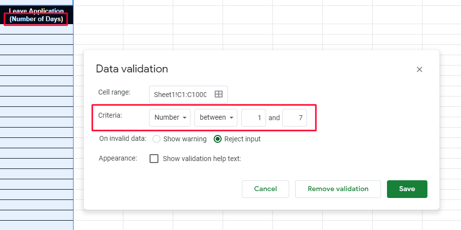 Select the number of range of Google Sheets data validation.