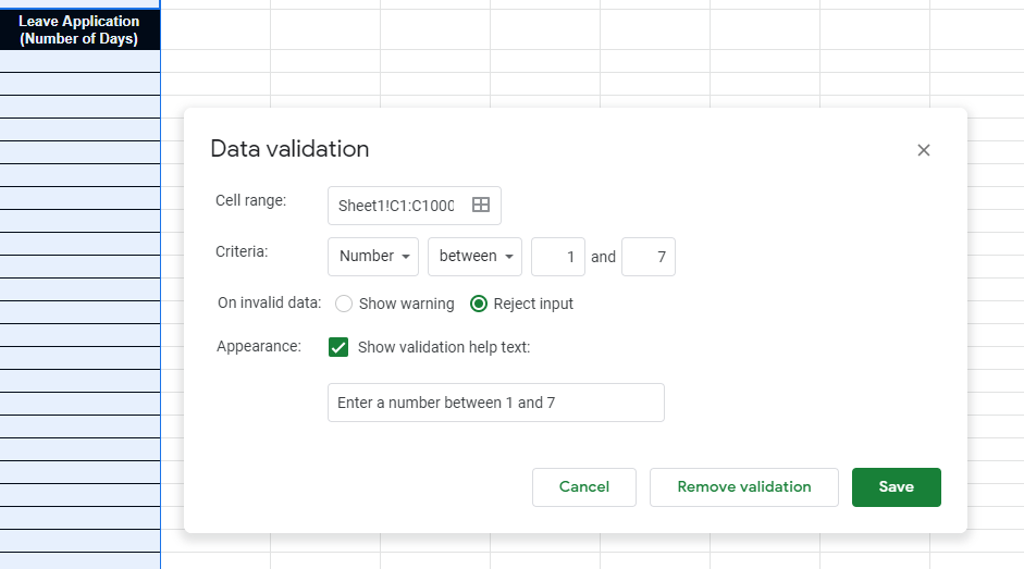 Set the rule for Google Sheets data validation.