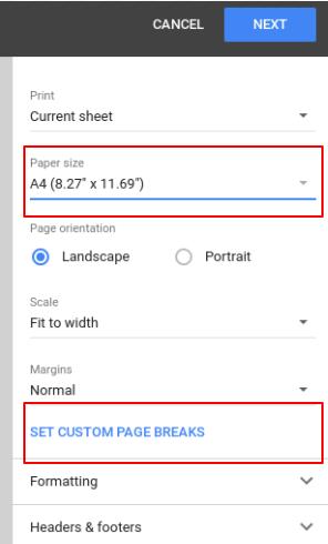 Set the custom page range for Google Sheets.