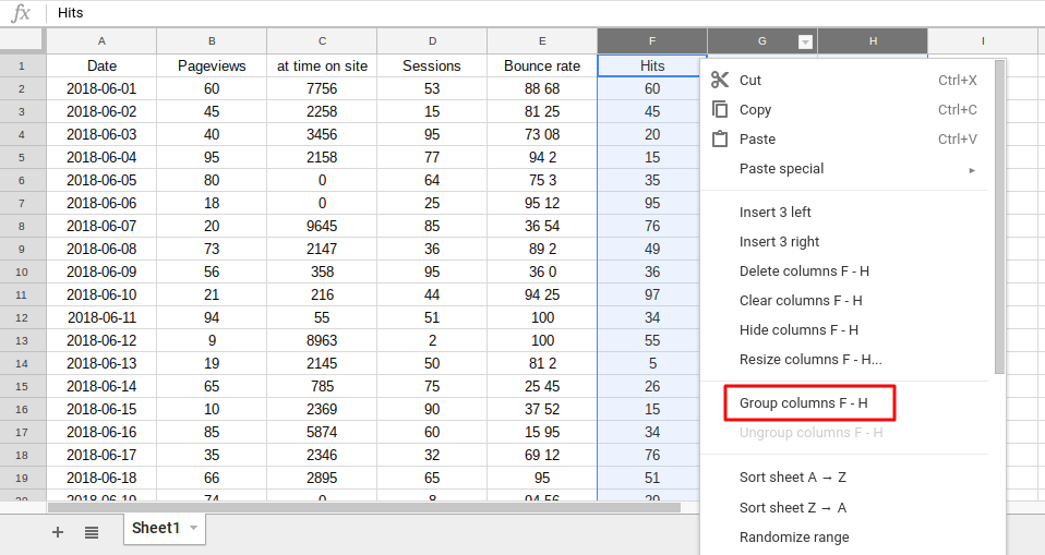 Click to group selected column with grouping in Google Sheets feature.