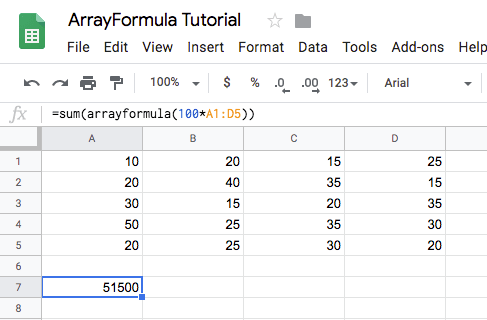 sum of arrayformula
