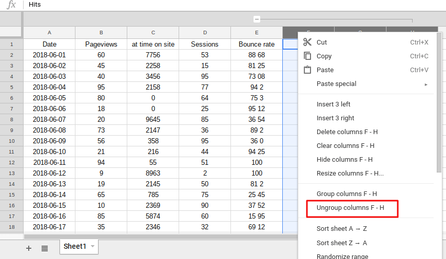 Click to ungroup selected column in grouping in Google Sheets feature.