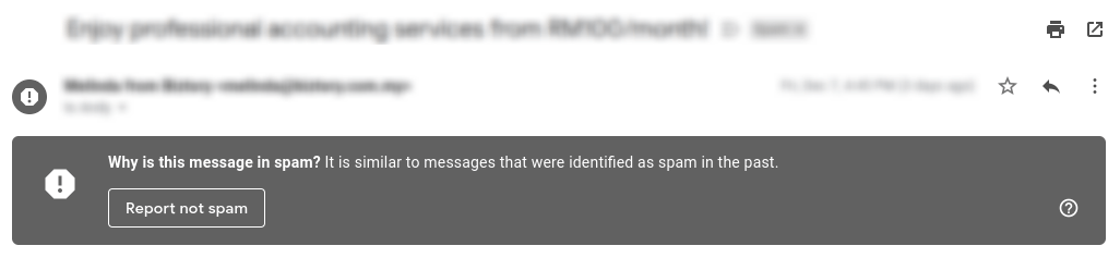 Report not a spam mail to avoid missing emails in gmail.