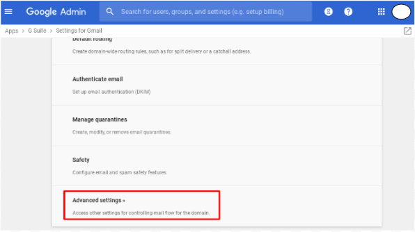 Select the Gmail Advanced setting in G Suite Admin Console.