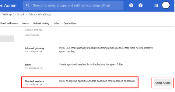 Select the blocked senders in Gmail Advanced Setting.