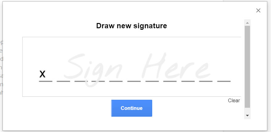 Draw your signature in the box