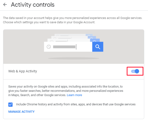 To disable the google activity record