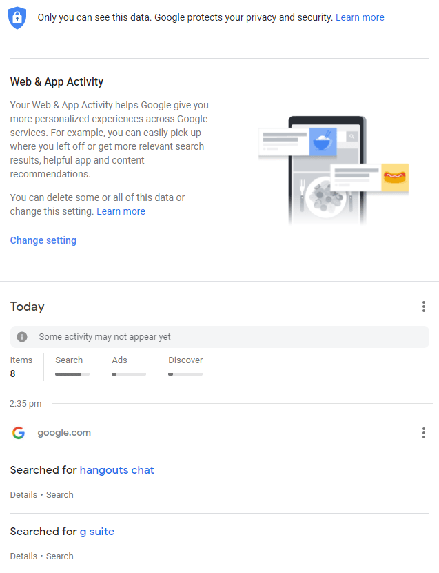 To see Google activities
