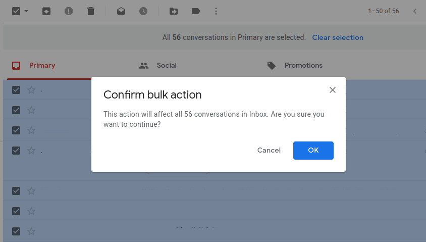 Click okay to confirm delete bulk Gmail emails.