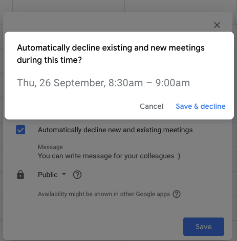 An automatically decline notification for existing and new meetings when set the Google Calendar Out-of-Office.
