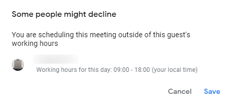 A notification showing the meeting is outside of the working hours in Google Calendar.