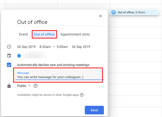 Select the out of office option when creating the event in the Google Calendar.