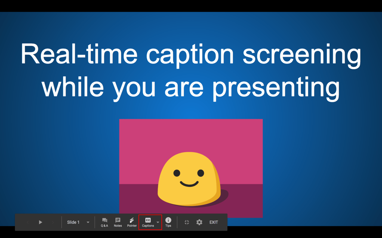 Click the CC option to turn on the Google Slides Captions.
