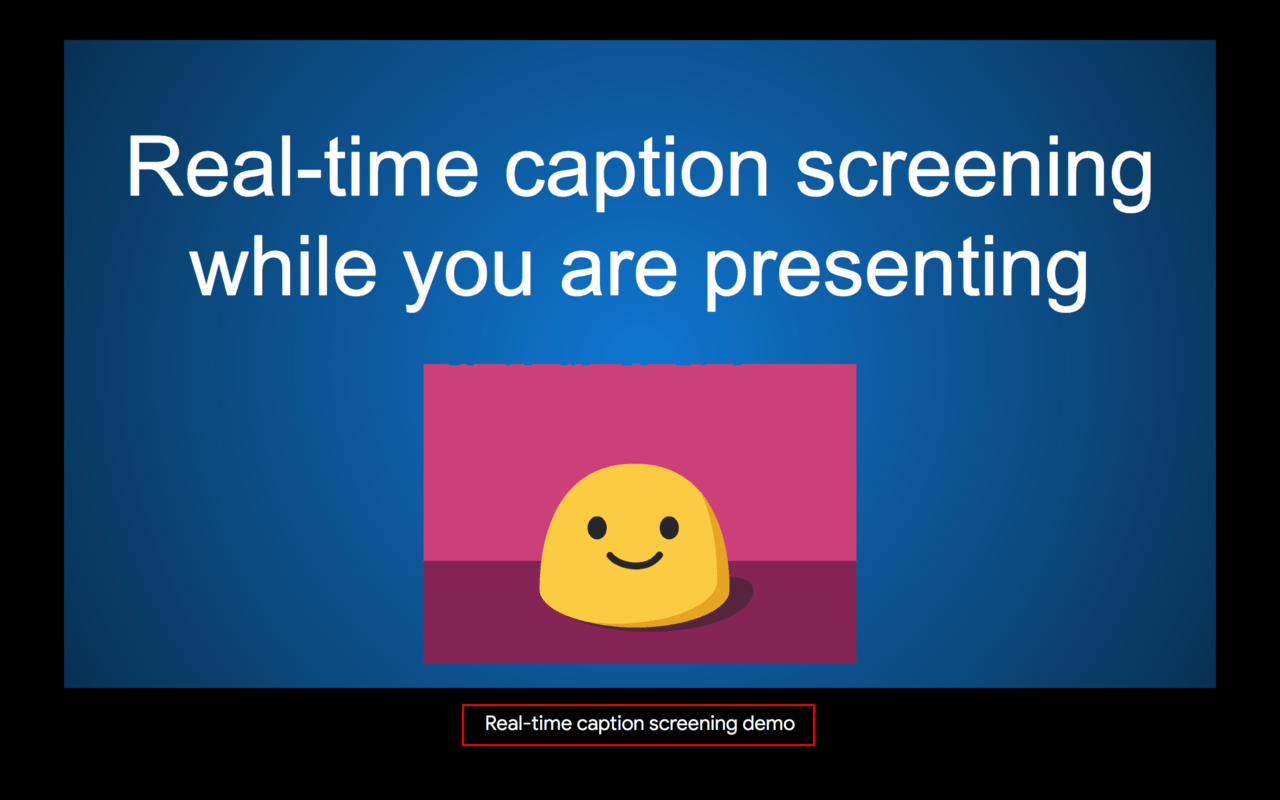 The real time captions appear at the bottom of the Google Slides while you speak.