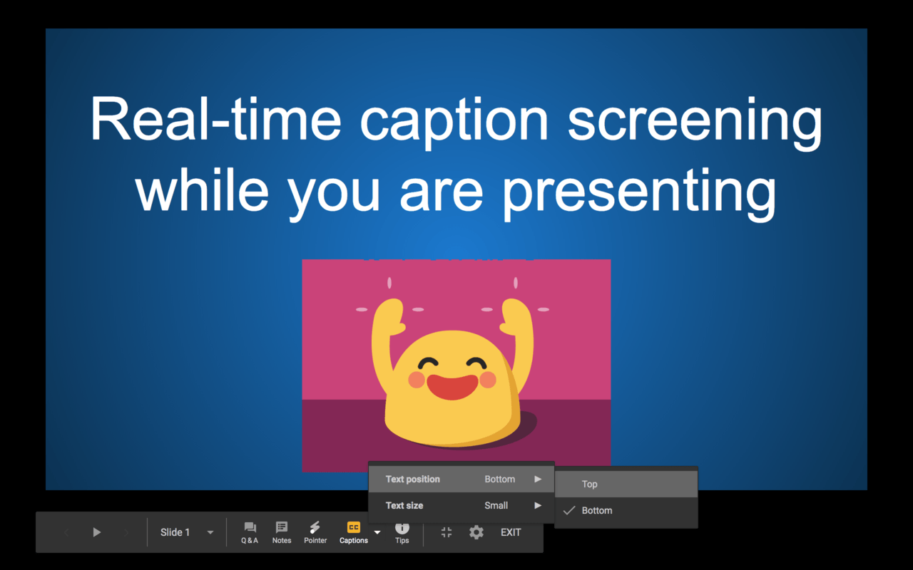 You can adjust the text position of the captions to top or bottom of the screen.