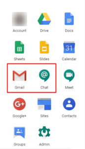 Out-of-Office notification in Gmail and Hangouts Chat.