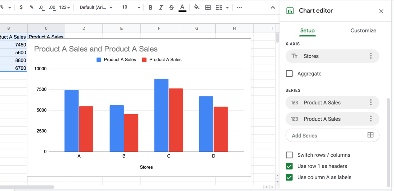Google Sheets Chart Editor to amend labels on the chart