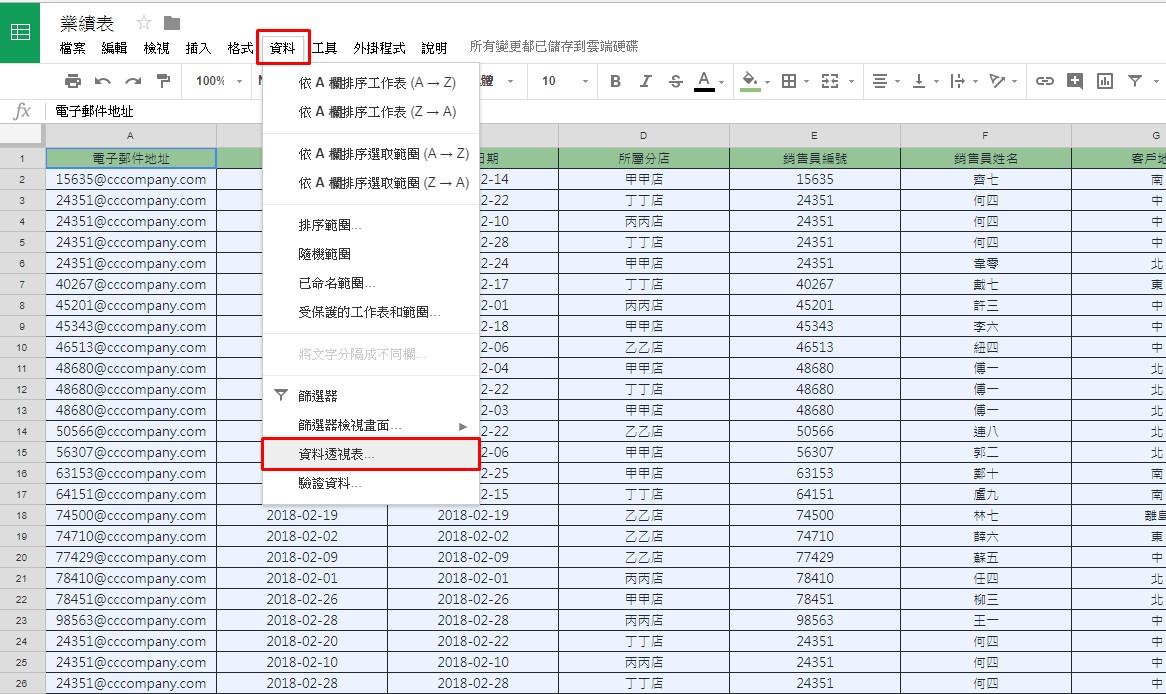照片為Google試算表中呼叫資料透視分析表