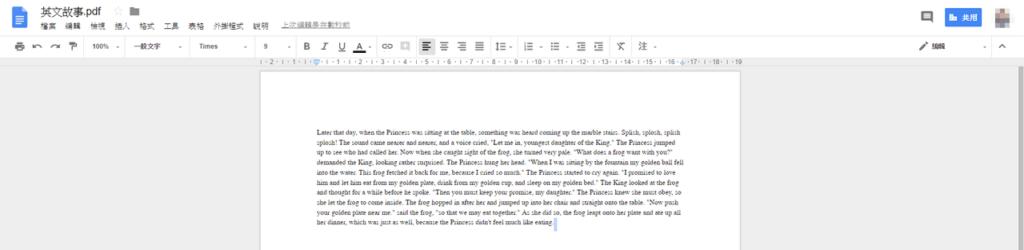 照片為將PDF檔轉換為Google文件後的畫面