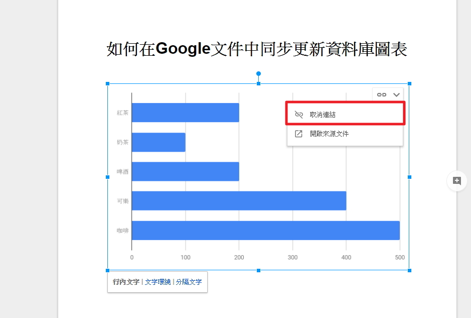 照片為Google試算表圖表取消連結