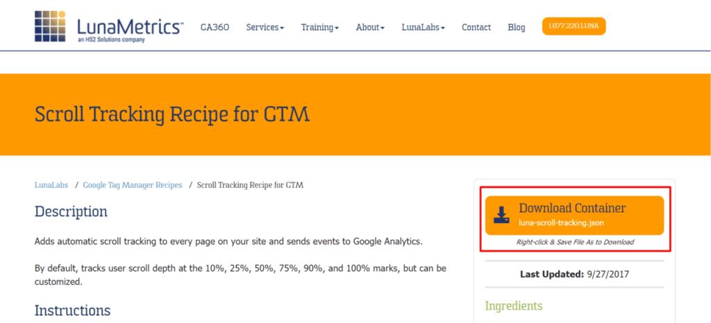 照片為LunaMetrics Scroll Tracking Code的使用步驟一,下載container之畫面