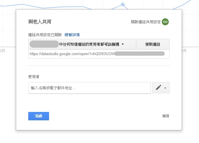 圖片為使用Google雲端工具的分享權限畫面