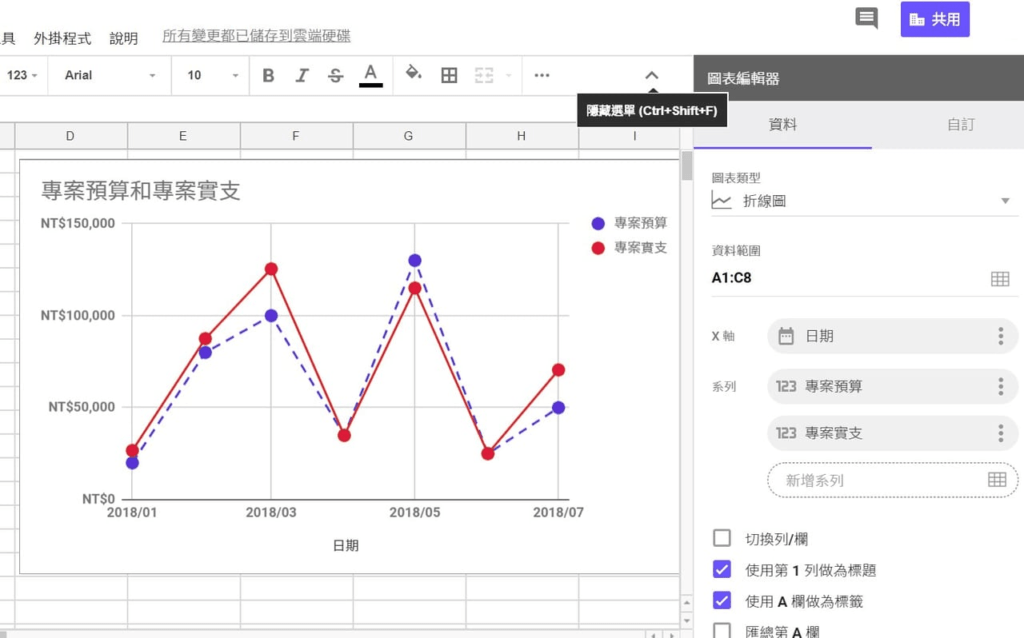 在Google試算表的圖表編輯器中,可以選擇圖表類型與資料範圍